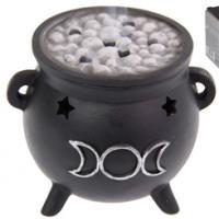 Triple Moon Cauldron Incense Burner