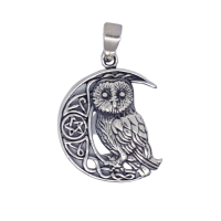 Owl Celtic Crescent - Silver