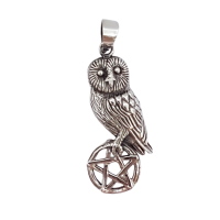 Owl on Pentagram - Silver