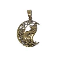 Cat Celtic Crescent - Bronze